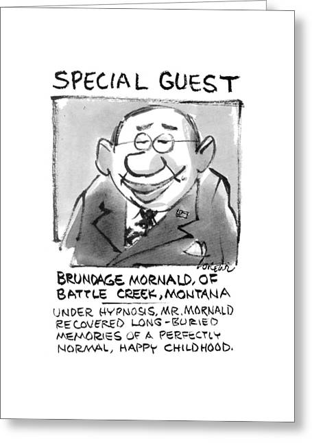 Today's Special Guest Brundage Mornald Greeting Card by Lee Lorenz