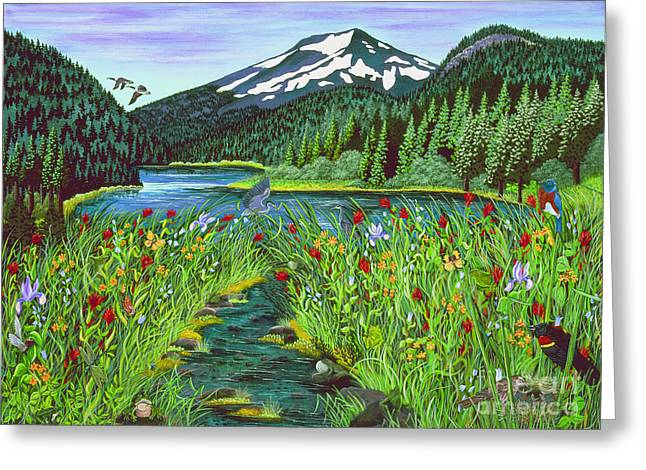 Todd Lake Mt. Bachelor Greeting Card by Jennifer Lake