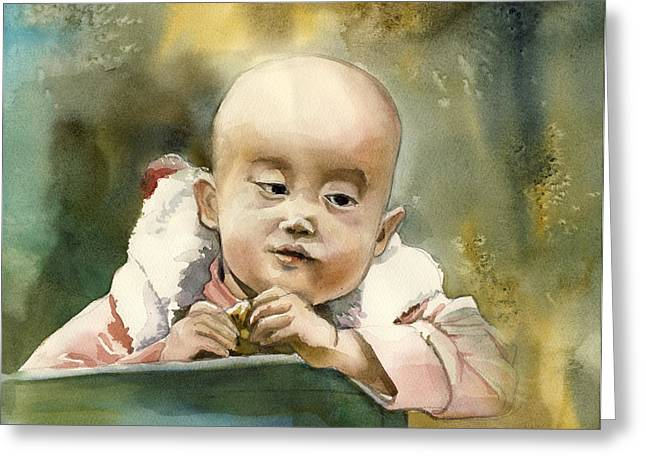 Toddler At The Market Greeting Card by Alfred Ng