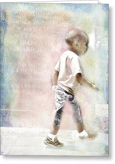 Greeting Card featuring the digital art Toddler On The Prowl by Davina Washington
