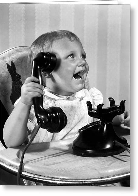 Toddler With Telephone Greeting Card by Underwood Archives