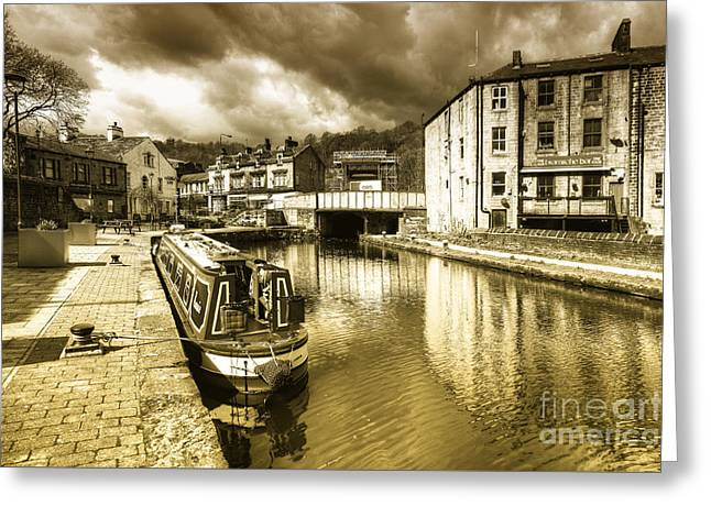 Todmorden Wharf Toned  Greeting Card by Rob Hawkins