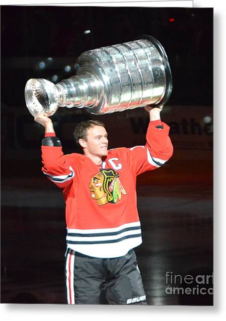 Greeting Card featuring the photograph Toews Holds The Stanley Cup by Melissa Goodrich