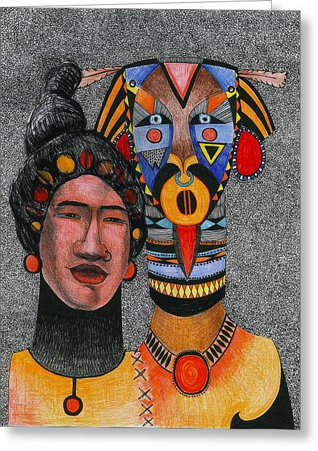 Together-forever, 2012 Pen, Ink And Colour Pencils On Paper Greeting Card