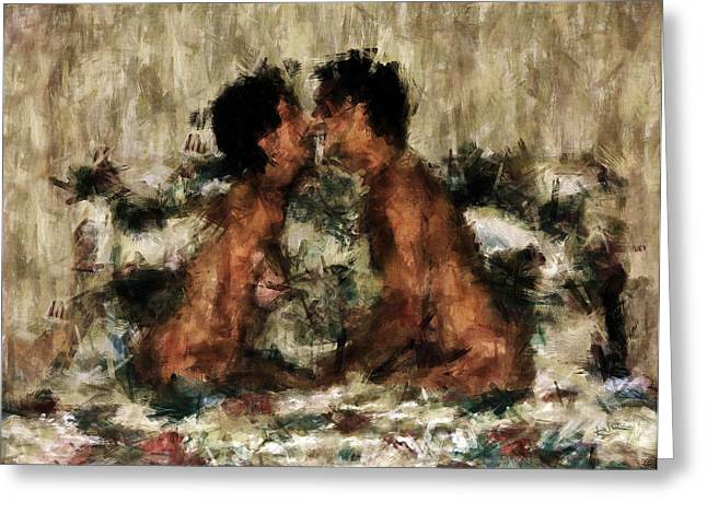 Nude Couple Greeting Cards - Together Greeting Card by Kurt Van Wagner