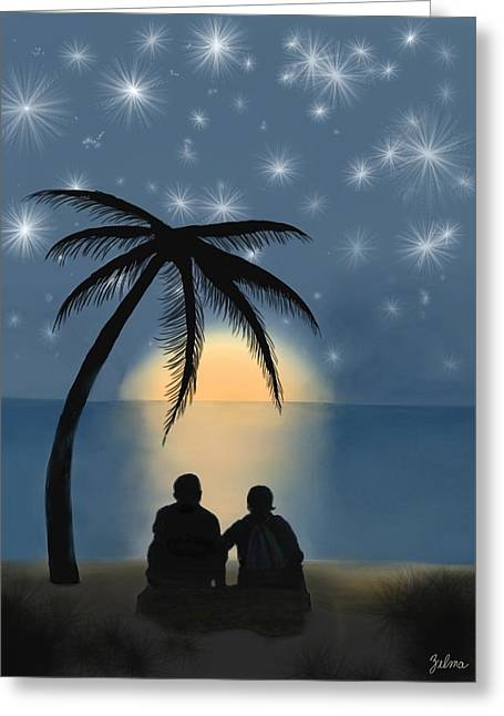 Together Under The Stars Greeting Card by Zelma Hensel