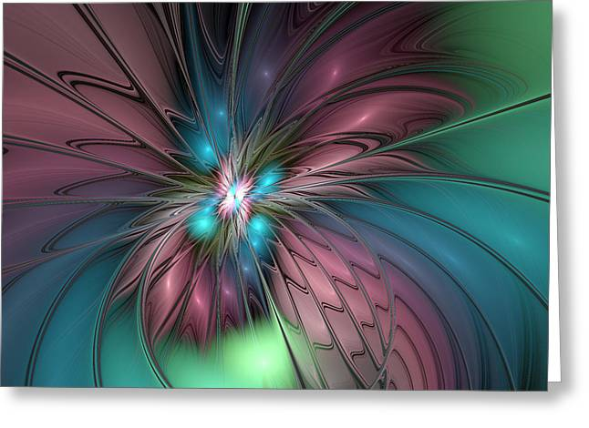 Togetherness Abstract Fractal Art Greeting Card by Gabiw Art