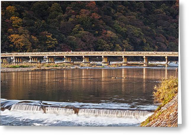 Togetsukyo Bridge And Katsura River Panorama Arashiyama Kyoto Ja Greeting Card by Colin and Linda McKie