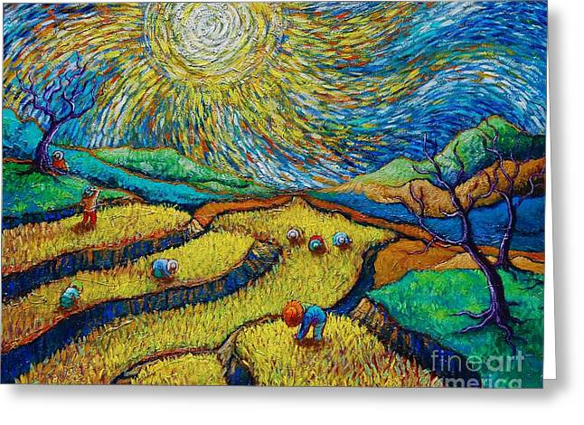 Toil Today Dream Tonight Diptych Painting Number 1 After Van Gogh Greeting Card by Paul Hilario