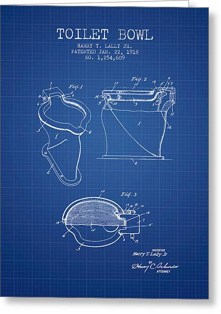 Toilet Bowl Patent From 1918 - Blueprint Greeting Card by Aged Pixel