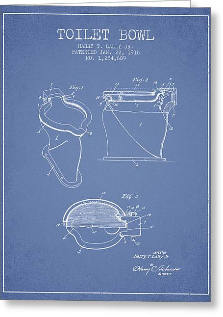 Toilet Bowl Patent From 1918 - Light Blue Greeting Card by Aged Pixel