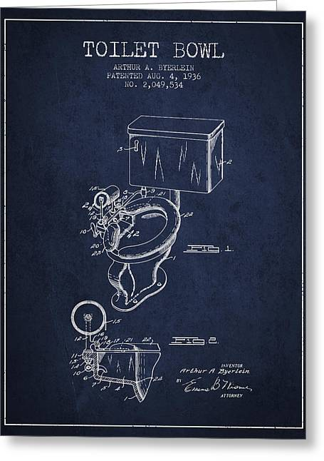Toilet Bowl Patent From 1936 - Navy Blue Greeting Card