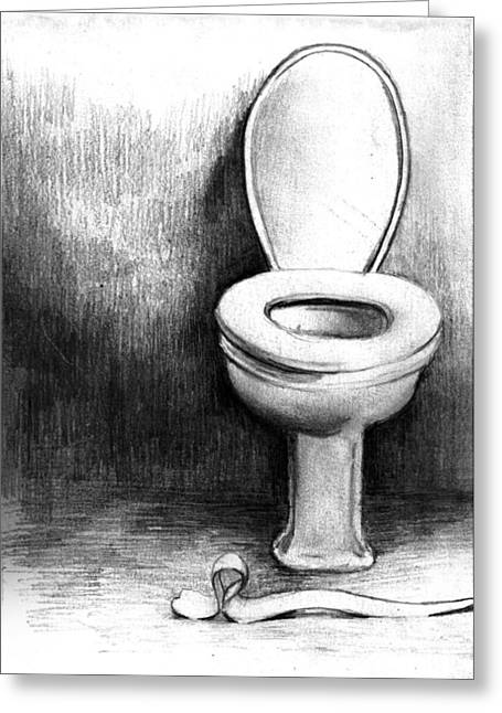 toilet drawing. Toilet Greeting Card by Di Fernandes Drawing