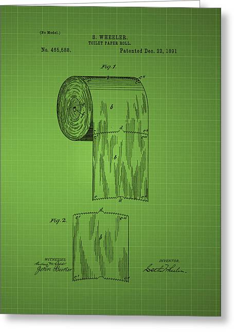 Toilet Paper Roll Patent 1891 - Green Greeting Card by Chris Smith