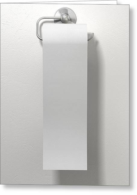 Toilet Roll On Chrome Hanger Greeting Card by Allan Swart