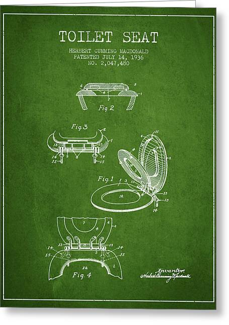 Toilet Seat Patent From 1936 - Green Greeting Card by Aged Pixel