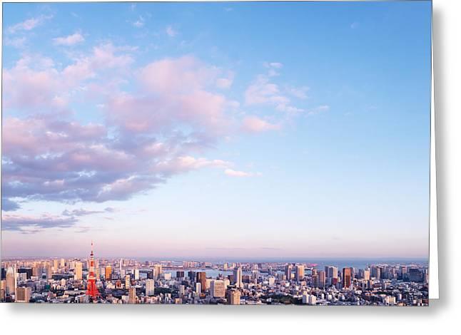 Tokyo City Scenery Under Blue Sky Greeting Card by Oleksiy Maksymenko