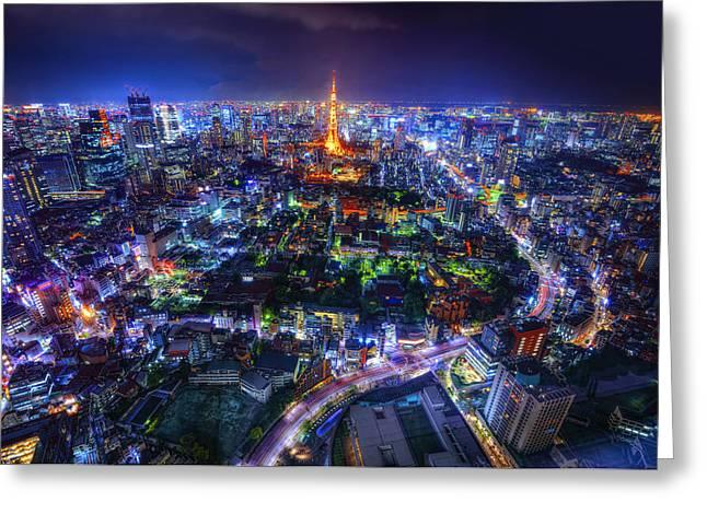 Tokyo Dreamscape Greeting Card by Midori Chan