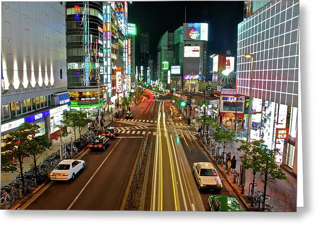 Greeting Card featuring the photograph Tokyo Neon Streaks by Jonah  Anderson