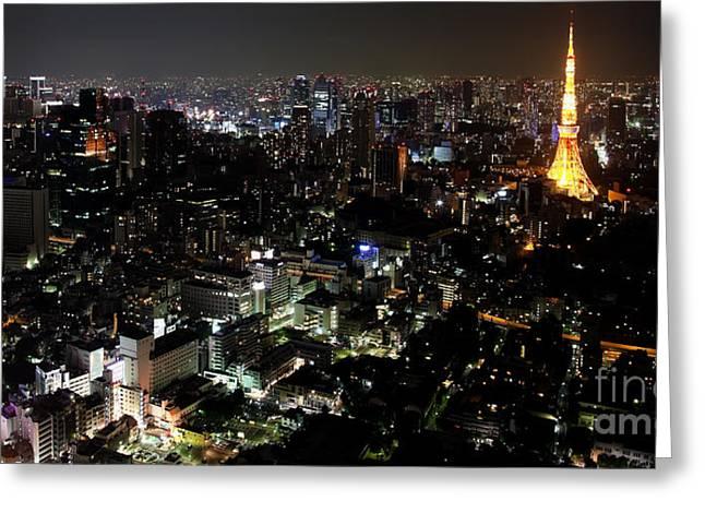 Tokyo Skyline At Night Greeting Card by Fototrav Print