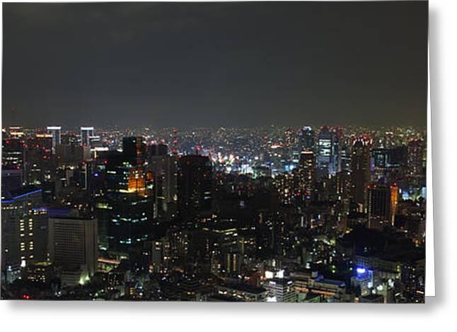 Tokyo Skyline At Night Japan Greeting Card by Fototrav Print