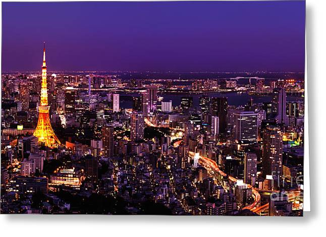 Tokyo Tower And Brightly Lit City At Night Greeting Card by Oleksiy Maksymenko
