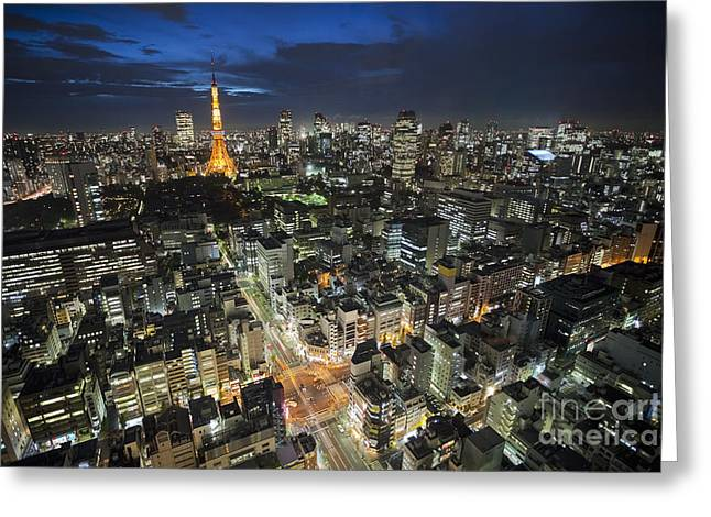 Tokyo Tower At Night Greeting Card