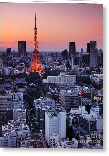 Tokyo Tower During Sunset Greeting Card by Oleksiy Maksymenko
