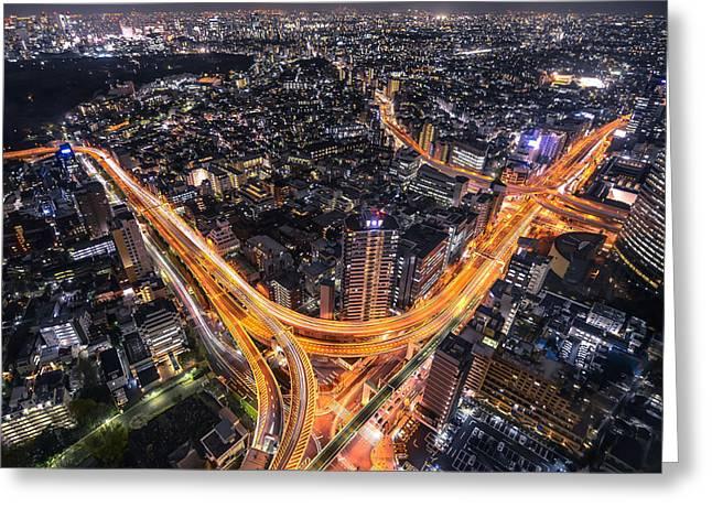 Tokyo Traffic Greeting Card by Nick Jackson