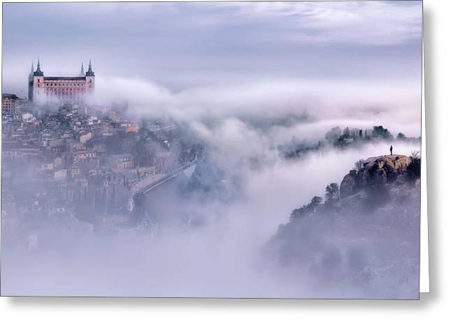 Toledo City Foggy Morning Greeting Card
