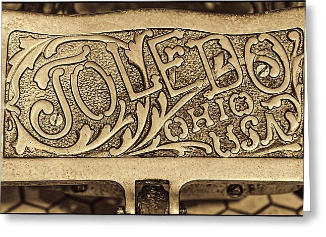 Toledo Ohio Usa Art Gold Greeting Card by LeeAnn McLaneGoetz McLaneGoetzStudioLLCcom
