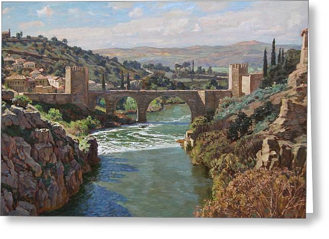 Toledo. San-martin Bridge Greeting Card by Korobkin Anatoly