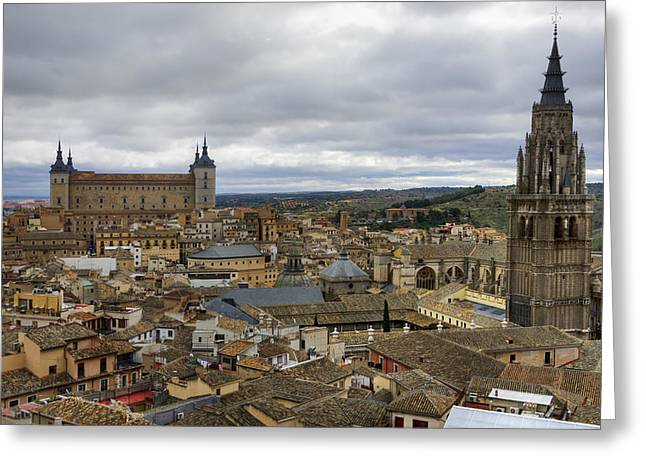 Toledo View Greeting Card by Joan Carroll