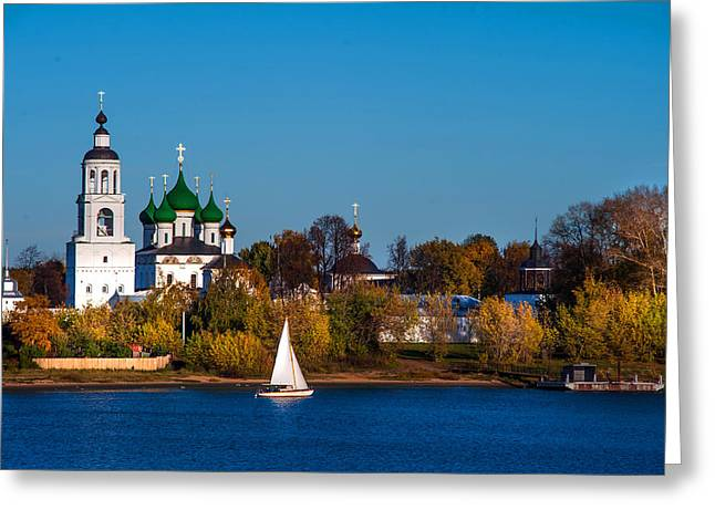 Tolga Monastery At River Volga Greeting Card