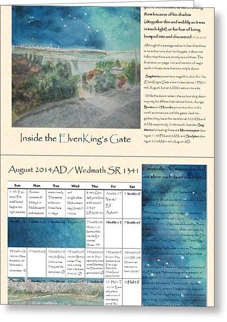 Tolkien Hobbit Calendar Inside The Elvenking S Gate Bi-fold August Greeting Card by Glen McDonald