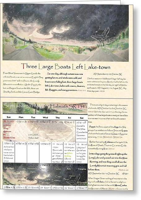 Tolkien Hobbit Calendar Three Large Boats Left Lake-town Bi-fold September Greeting Card by Glen McDonald