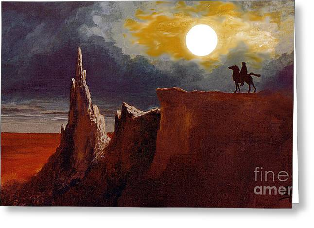 Tolkien's Night Rider Greeting Card by Gerald MacLennon