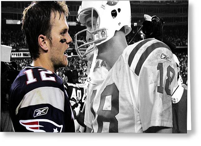 Tom Brady And Peyton Manning Face Off 1 Greeting Card by Brian Reaves