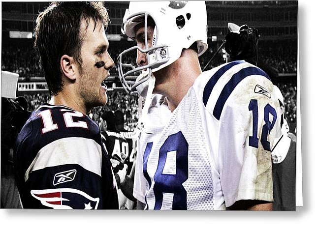 Tom Brady And Peyton Manning Face Off 3 Greeting Card by Brian Reaves