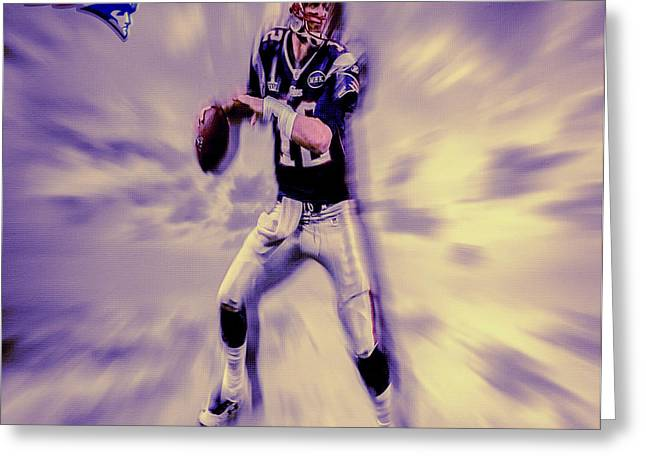 Tom Brady In The Pocket Greeting Card by Brian Reaves