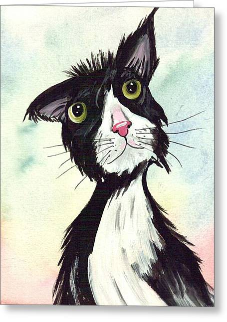 Tom Cat All Confident Greeting Card by Rita Drolet