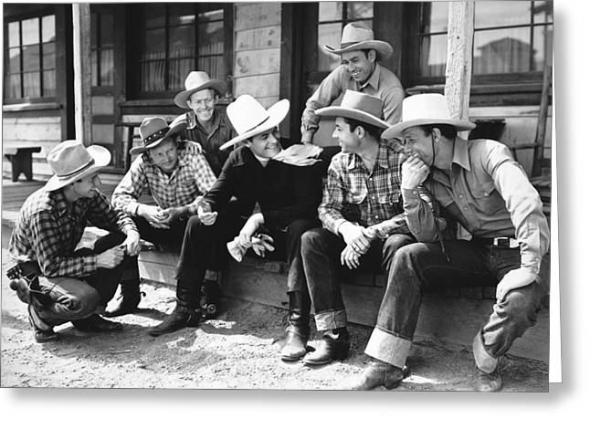 Tom Mix And Cowboys Greeting Card by Underwood Archives