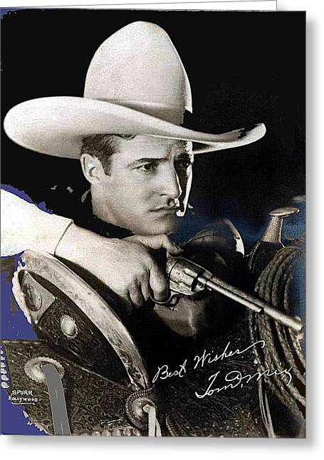 Tom Mix Portrait Melbourne Spurr Hollywood California C.1925-2013 Greeting Card by David Lee Guss