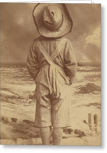 Tom Sawyer At The Beach Greeting Card by Paul Ashby Antique Image