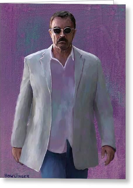 Tom Selleck Greeting Card by Scott Bowlinger