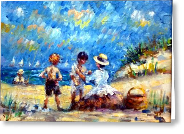 Tom Steve With Gerry At The Beach Greeting Card
