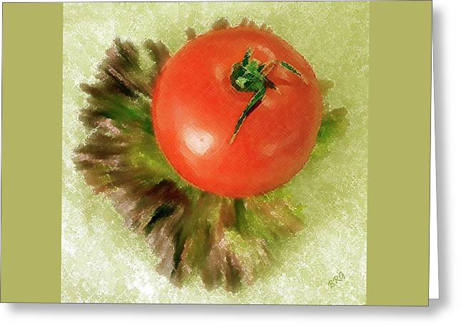 Tomato And Lettuce Greeting Card by Ben and Raisa Gertsberg