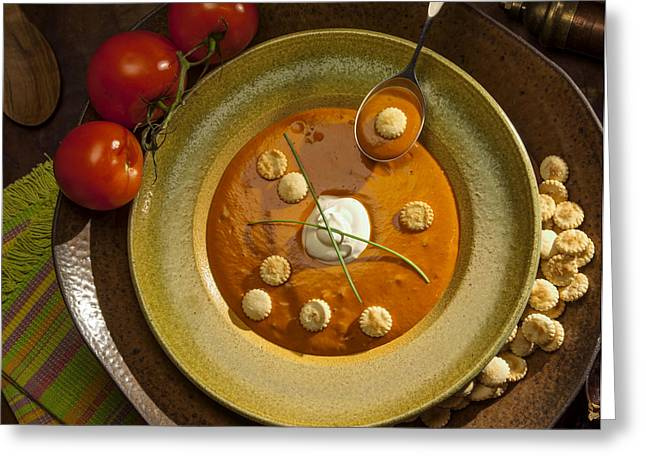 Tomato Bisque Soup Greeting Card by Ron Schwager