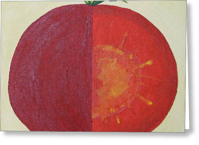 Tomato In Two Reds Acrylic On Canvas Board By Dana Carroll Greeting Card by Dana Carroll