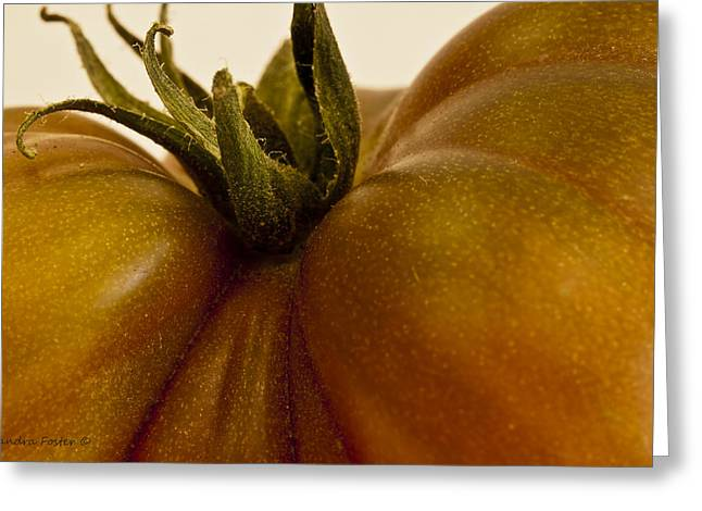 Tomato Macro Greeting Card by Sandra Foster